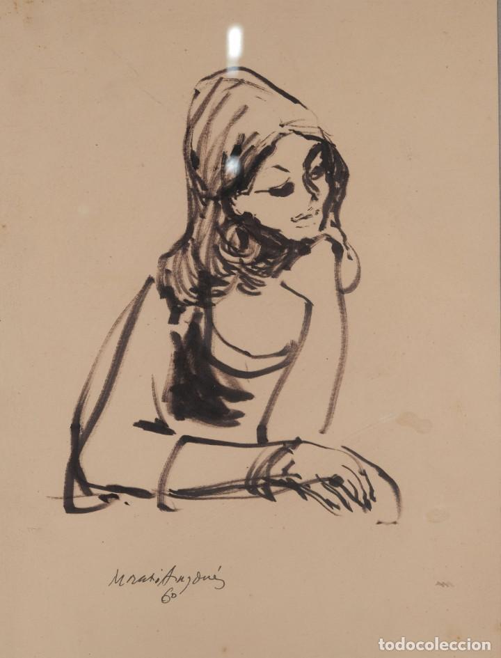 JOSEP MARIA MORATÓ ARAGONÉS DIBUJO A TINTA MUJER FIRMADO Y FECHADO 1960 (Arte - Dibujos - Contemporáneos siglo XX)