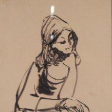 Arte: JOSEP MARIA MORATÓ ARAGONÉS DIBUJO A TINTA MUJER FIRMADO Y FECHADO 1960. Lote 276046043