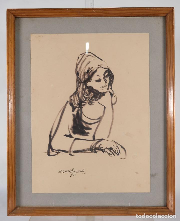 Arte: Josep Maria Morató Aragonés Dibujo a tinta Mujer Firmado y fechado 1960 - Foto 2 - 276046043