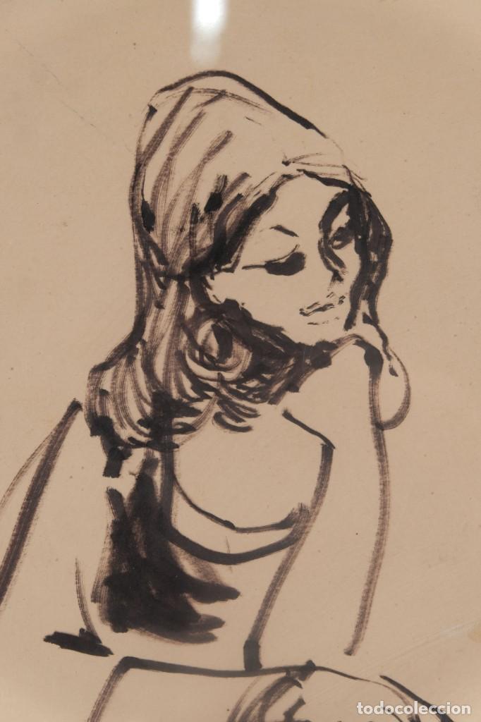 Arte: Josep Maria Morató Aragonés Dibujo a tinta Mujer Firmado y fechado 1960 - Foto 3 - 276046043