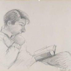 Arte: DIBUJO A LÁPIZ HOMBRE LEYENDO FIRMADO P.OLIVER RIBALTA 1969. Lote 276046538