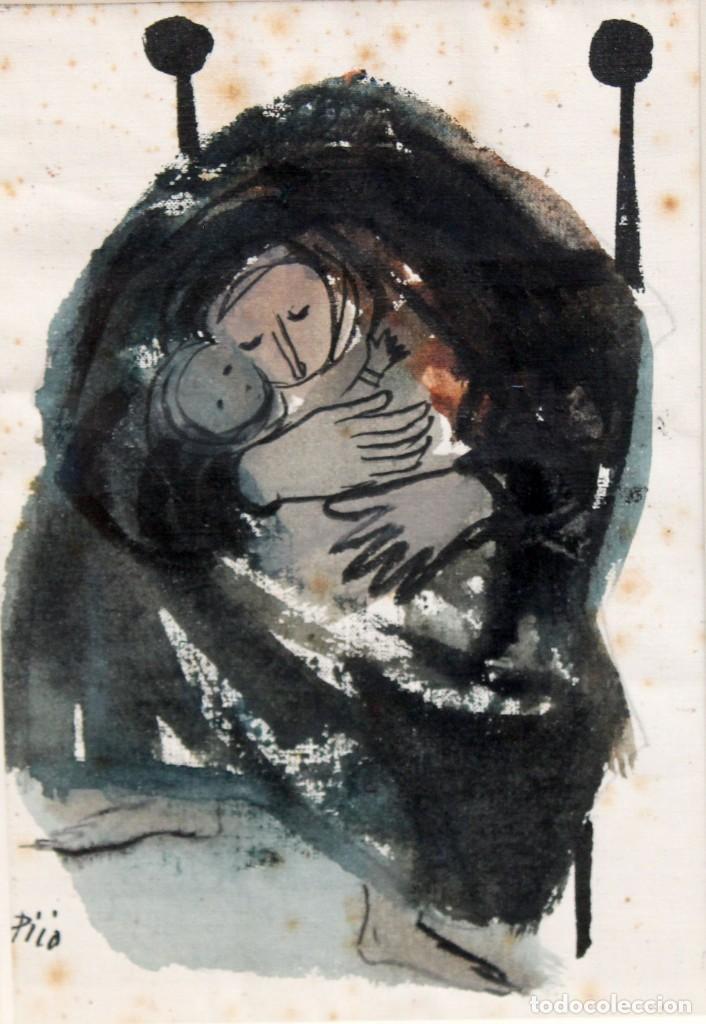 JOSÉ PICÓ MITJANS (MADRID, 1904 - 1991) TECNICA MIXTA SOBRE PAPEL. MATERNIDAD (Arte - Dibujos - Contemporáneos siglo XX)