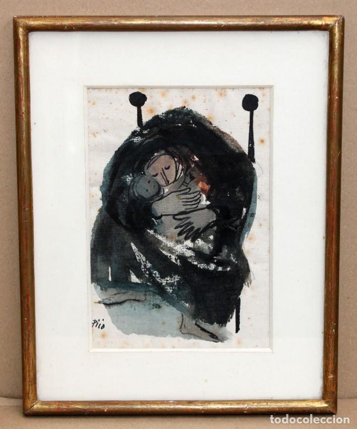 Arte: JOSÉ PICÓ MITJANS (MADRID, 1904 - 1991) TECNICA MIXTA SOBRE PAPEL. MATERNIDAD - Foto 2 - 276127108