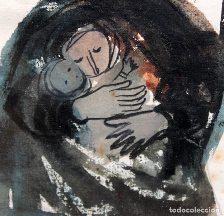 Arte: JOSÉ PICÓ MITJANS (MADRID, 1904 - 1991) TECNICA MIXTA SOBRE PAPEL. MATERNIDAD - Foto 3 - 276127108