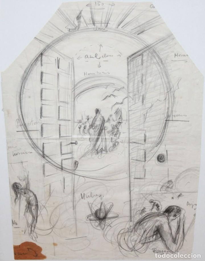 FRANCESC FERRET FARRERAS -BRUNO- (SITGES, 1921 - 2000) ESBOZOS (Arte - Dibujos - Contemporáneos siglo XX)