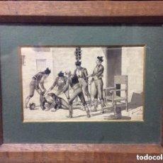 Arte: JUAN ALAMINOS LÓPEZ, ANTIGUA ACUARELA Y PLUMILLA FIRMADO J.ALAMINOS. Lote 276287693