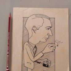 Arte: DIBUJO ORIGINAL PERSONAJE FUMANDO TABACO IDEAL, A TINTA, FIRMADO MAC 1953. Lote 276291578
