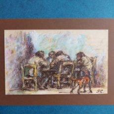"""Arte: GARCIA ESTRAGÉS"""" JUGANDO A CARTAS EN EL BAR"""" BOCETO ORIGINAL 1976. Lote 276359693"""