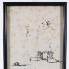 Arte: DIBUJO A TINTA PAYASO DEDICADO Y FIRMADO JOSÉ 1974. Lote 276385788