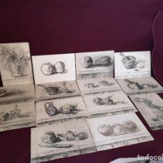 Art: LOTE CON UNAS 14 PINTURAS ORIGINALES, CARBONCILLO SOBRE TABLA, EJERCICIOS O SIMILAR, 35 X 24 (E1). Lote 276397628