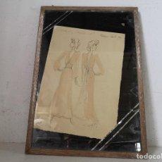 Arte: CURIOSO DIBUJO DE DISEÑADOR/A DE ROPA ORIGINAL, 1922, ENMARCADO, CON NOTAS EN LÁPIZ, A IDENTIFICAR. Lote 276440273