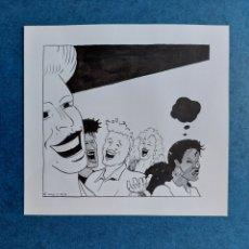 """Arte: HUGO DIBUJO ILUSTRACION ORIGINAL""""JOVENES DIVIRTIENDOSE"""". Lote 276456288"""