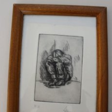 Arte: DIBUJO BOCETO A LAPIZ CARBONCILLO SOBRE PAPEL DE GRABADO: NIÑO PENSANDO – FIRMADO FECHA - MARCO. Lote 276470938