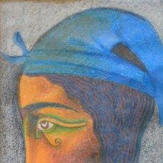 Arte: RETRATO DE PERSONAJE, TÉCNICA MIXTA, LÁPIZ Y CERAS, FIRMA ILEGIBLE. 35,5X25,5CM. Lote 276482158
