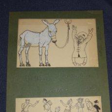 Arte: LOTE DE 4 DIBUJOS ORIGINALES DE FELIU ELÍAS APA - PERIPECIAS JUAN BURLÓN, EDT MUNTAÑOLA. Lote 276490353
