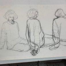 Arte: DIBUJO AL CARBONCILLO FIRMADO POR SERRET.. Lote 276522383