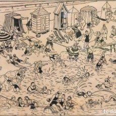 Arte: RICARDO OPISSO I SALA (1880 - 1966) DIBUJO ORIGINAL A TINTA. MULTITUD EN LA PLAYA. Lote 276634938