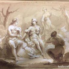 Arte: DIBUJO ,AGUADA PARDA -CLARION NEGRO Y BLANCO ORIGINAL SIGLO XIX, ESCUELA ESPAÑOLA ,FECHADO. Lote 276682028