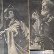 Arte: MARIA MAGDALENA Y MONJE. FIRMADO J. UMBERT. DIBUJOS AL CARBÓN. SIGLO XIX-XX.. Lote 276682513