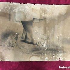 Arte: JOSE NAVARRO. ESTUDIO DE PIES. LAPIZ Y CARBÓN.. Lote 276690968