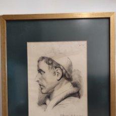 Arte: DIBUJO A LAPIZ, AÑO 1927. ESC. VALENCIANA. RETRATO, PERFIL DE MONJE. ENMARCADO 53X44CM. Lote 276927298