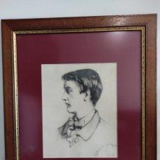 Arte: RETRATO, PERFIL MASCULINO. DIBUJO A LAPIZ, ESCUELA VALENCIANA. 1924. ENMARCADO 58X47CM. Lote 276928138