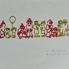 Arte: GRUPO DE PERSONAS. FIRMADO MARTÍ. DIBUJO A TINTA SOBRE PAPEL. CARICATURA. 1981.. Lote 276997838