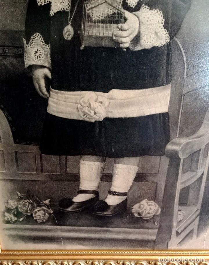Arte: ESPECTACULAR RETRATO MUY ANTIGUO DE NIÑO A CARBONCILLO ENMARCADO HACIA 1880 - Foto 2 - 277033963