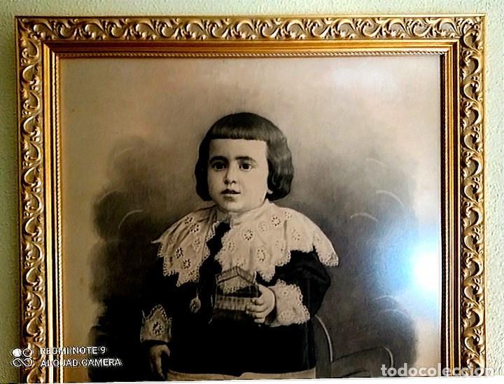 Arte: ESPECTACULAR RETRATO MUY ANTIGUO DE NIÑO A CARBONCILLO ENMARCADO HACIA 1880 - Foto 3 - 277033963