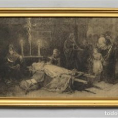 Arte: ENTIERRO DEL ¿CONDESTABLE DON ALVARO?. CARBONCILLO. BOCETO. JOSE ARPA Y PEREA (1860-1952). ROMA. Lote 277191098