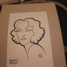 Arte: ANTIGUA CARICATURA DE MARLENE DIETRICH, FIRMADA. Lote 277303773