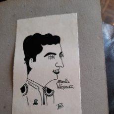 Arte: ANTIGUA CARICATURA, MARTÍN VÁZQUEZ, FIRMADA. Lote 277474288