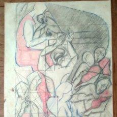 Arte: ESTUDIO PARA MURAL A LÁPIZ Y COLOR. Lote 277617738