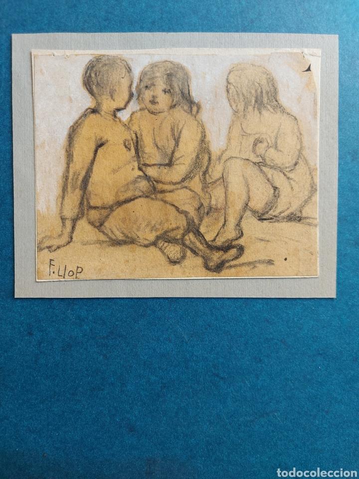 """F. LLOP APUNTE DEL NATURAL"""" NIÑOS EN LA PLAYA"""" (Arte - Dibujos - Contemporáneos siglo XX)"""