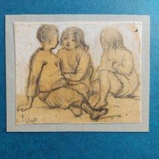 """Arte: F. LLOP APUNTE DEL NATURAL"""" NIÑOS EN LA PLAYA"""". Lote 277621343"""