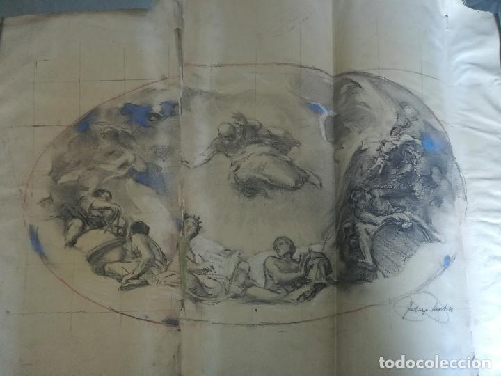 APUNTE DE FÉLIX MESTRES, DECORACIÓN BÓVEDA SALÒ SANT JORDI DE LA GENERALITAT DE CATALUNYA. CA1920 (Arte - Dibujos - Contemporáneos siglo XX)