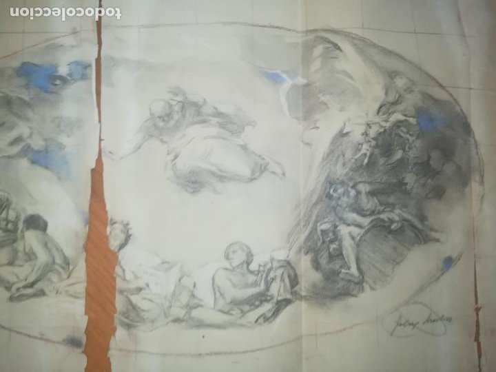 Arte: Apunte de Félix Mestres, decoración bóveda Salò Sant Jordi de la Generalitat de Catalunya. Ca1920 - Foto 3 - 277624688
