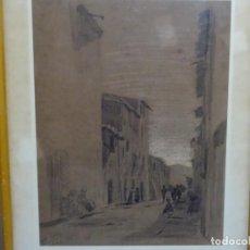 Arte: DIBUJO ANÓNIMO DE GRAN CALIDAD. CALLE SORROY, ARBUCIES - ARBUCIAS 1894.. Lote 277842623