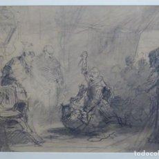 Arte: DIBUJO DE GRAN CALIDAD ANONIMO. MUERTE DEL REY.. Lote 277843203