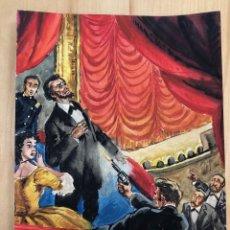 Arte: DIBUJO ORIGINAL MUERTE DE ABRAHAM LINCOLN. EN GOUACHE REALIZADOS POR COSTA SALANOVA. AÑOS 50. Lote 278339723