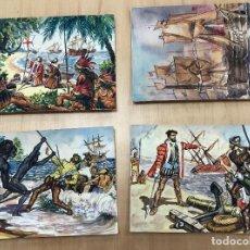 Arte: LOTE DE 4 DIBUJOS ORIGINALES CONQUISTA NUEVO MUNDO. EN GOUACHE REALIZADOS POR COSTA SALANOVA AÑOS 50. Lote 278340038