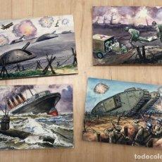 Arte: LOTE DE 4 DIBUJOS ORIGINALES II GUERRA MUNDIAL. EN GOUACHE REALIZADOS POR COSTA SALANOVA AÑOS 50. Lote 278340333