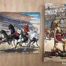 Arte: LOTE DE 2 DIBUJOS ORIGINALES ESCENAS ROMANAS. EN GOUACHE REALIZADOS POR COSTA SALANOVA AÑOS 50. Lote 278341968