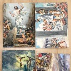 Arte: LOTE DE 4 DIBUJOS ORIGINALES ESCENAS DE LA BIBLIA. EN GOUACHE REALIZADOS POR COSTA SALANOVA AÑOS 50. Lote 278342578