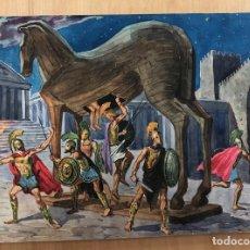 Arte: DIBUJO ORIGINAL CABALLO DE TROYA. EN GOUACHE REALIZADOS POR COSTA SALANOVA AÑOS 50. Lote 278343178