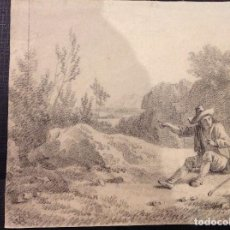 Arte: FIRMADO CON ANAGRAMA. SIGLO XVIII. FIGURA Y PAISAJE.. Lote 279353273