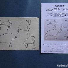 Arte: PABLO PICASSO, DIBUJO FIRMADO A MANO -INTERÉS ANDY WARHOL, MIRO, DALI, REMBRANDT, CHILLIDA. Lote 279430013