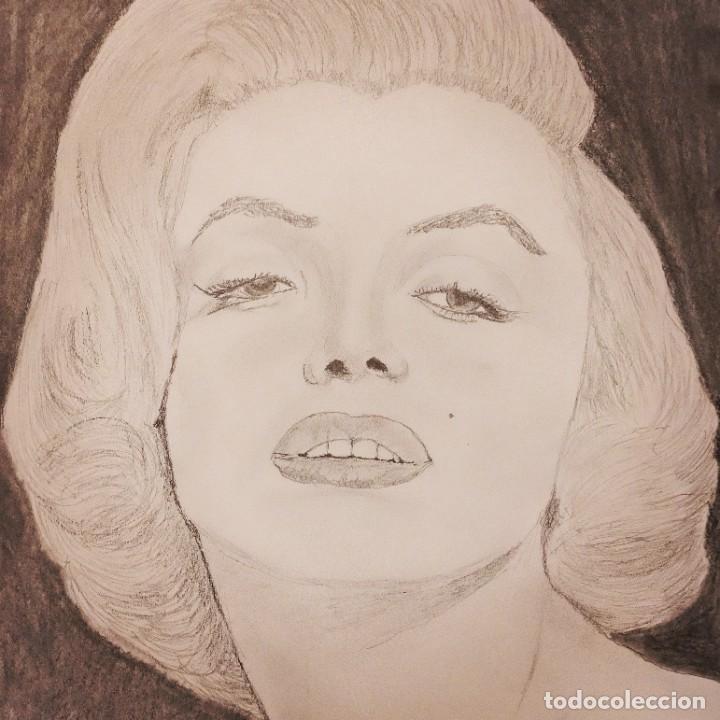 RETRATO ORIGINAL DE MARILYN MONROE A LAPIZ Y GRAFITO SOBRE PAPEL DE 160 GRS. MEDIDA 42 X 30 CMS. (Arte - Dibujos - Contemporáneos siglo XX)