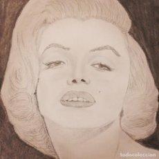 Arte: RETRATO ORIGINAL DE MARILYN MONROE A LAPIZ Y GRAFITO SOBRE PAPEL DE 160 GRS. MEDIDA 42 X 30 CMS.. Lote 280454923