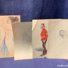 Arte: LOTE 4 DIBUJOS LAPIZ MILITARES MUJER DESNUDA MAJA PPIO S XX 23X16CMS. Lote 283141888